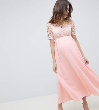 Queen Bee High Neck Cutwork Lace Top Maxi Dress