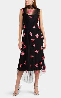 Prada Women's Petal-Embellished Fine Tulle & Silk Midi-Dress - Black