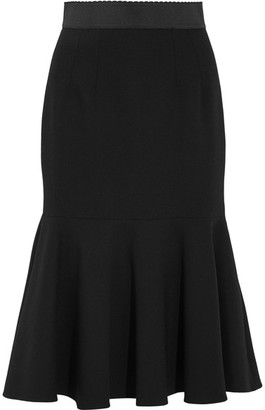 Dolce & Gabbana - Fluted Stretch-wool Midi Skirt - Black $1,175 thestylecure.com