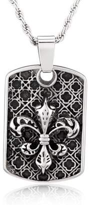 Crucible Stainless Steel Antiqued Fleur-de-lis Dog Tag Pendant