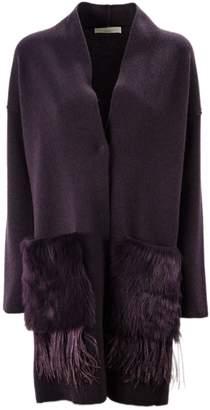 Fabiana Filippi Bordeaux Wool, Cashmere And Silk Cardigan.