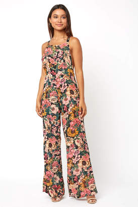 Billabong Still Here Floral Printed Overall Jumpsuit