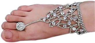 Vogholic Beach Wedding Foot Jewelry Anklet Bride Rhinestone Barefoot Sandals