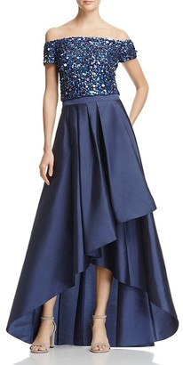 Adrianna Papell - Sequined High Low Gown AP1E201583 $687 thestylecure.com