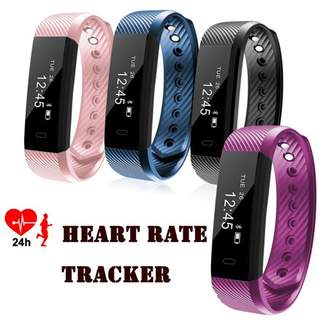 HK Fitness Tracker Watch Heart Rate Tracker Smart Wristband Bracelet for Android Iphone-Blue