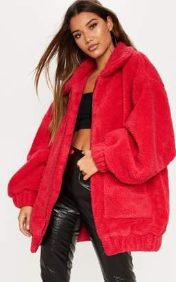 PrettyLittleThing Red Borg Pocket Front Coat