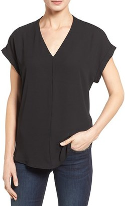 Pleione High/Low V-Neck Mixed Media Top $48 thestylecure.com