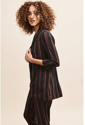 Dynamite Boyfriend Blazer - FINAL SALE BURGUNDY & BLACK STRIPES