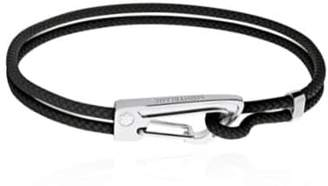 Montblanc Steel & Braided Leather Bracelet