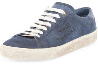 Saint Laurent Court Classic Logo-Writing Suede Low-Top Sneakers