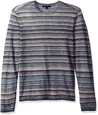John Varvatos Men's Striped Crewneck Sweater