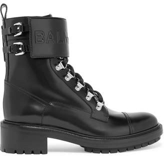 Balmain Ranger Logo-embossed Leather Ankle Boots - Black
