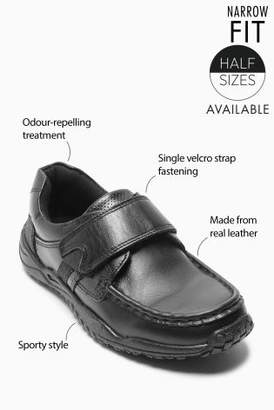Next Boys Black Narrow Fit Sporty Single Strap Leather Shoes (Older)