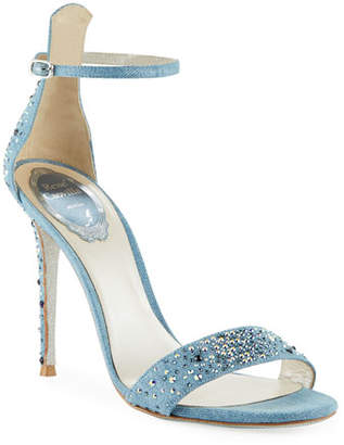 Rene Caovilla Embellished Denim Strappy Sandals