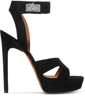 Givenchy Shark Lock Cutout Suede Platform Sandals - Black