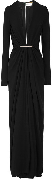 Saint Laurent Saint Laurent - Embellished Crepe Gown - Black