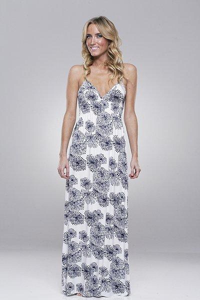 Rachel Pally Long Shirred Cami Dress in Sunburst/ Midnight