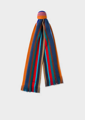 Paul Smith Men's Multi-Coloured Stripe Wool Scarf