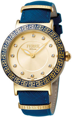 Ferré Milano Women's 38mm Stainless Steel Watch with Leather Strap, Golden/Blue