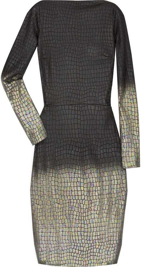 RM by Roland Mouret Kharif alligator print wool-blend dress