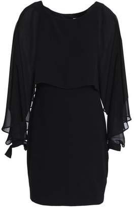 Bailey 44 Dessous Cape-Effect Chiffon-Paneled Stretch-Jersey Mini Dress
