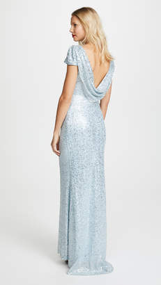 Badgley Mischka Draped Back Gown