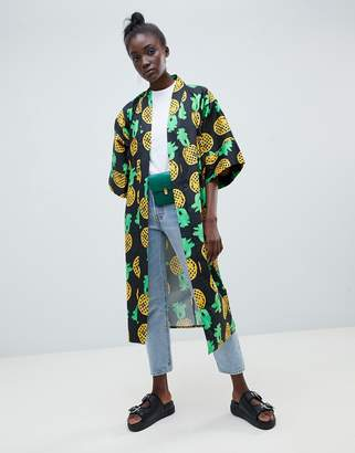 Asos MADE IN Made In Kenya longline kimono in pineapple print
