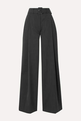 Dries Van Noten Podium Belted Pinstriped Twill Wide-leg Pants - Charcoal