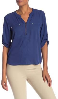 Harve Benard Georgette Roll Sleeve Zip Blouse