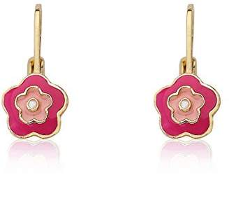 """Little Miss Twin Stars """"Frosted Flower"""" 14k Gold-Plated and Pink Enamel Flower Leverback Earrings"""