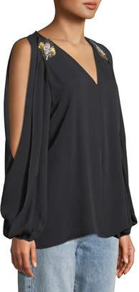 Kobi Halperin Cold-Shoulder Jeweled Silk Blouse