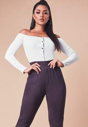 Missguided White Ribbed Long Sleeve Bardot Popper Crop Top