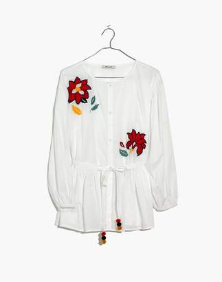 Madewell Embroidered Babydoll Button-Down Shirt
