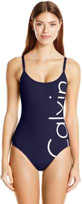 Calvin Klein Women's Logo Over the Shoulder One Piece Swimsuit with Removable Soft Cup