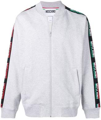 Moschino logo stripe bomber jacket