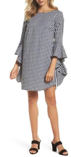 Ruffle Sleeve Gingham Shift Dress