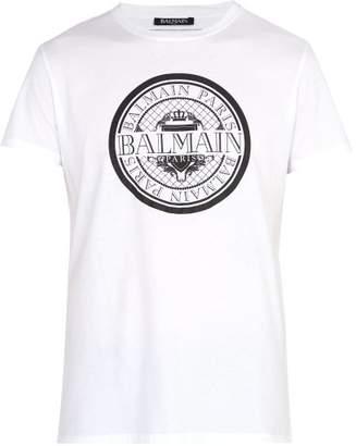 Balmain Coin Logo Print T Shirt - Mens - White
