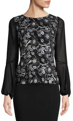 Alex Evenings Sheer-Sleeve Floral Mesh Blouse