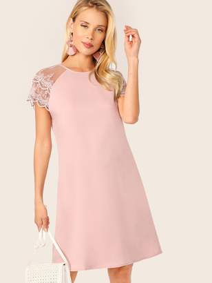 Shein Layered Embroidered Mesh Raglan Sleeve Tunic Dress