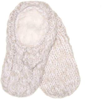 Lemon Knit Flower Slipper Socks - Women's