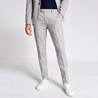 River Island Light grey check skinny suit trousers