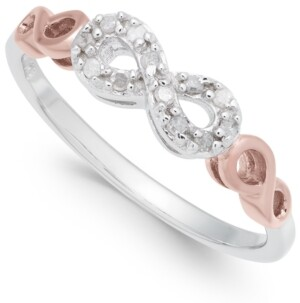 Macy's Diamond Infinity Ring (1/10 ct. t.w.) in Sterling Silver and Rose Gold-Plate