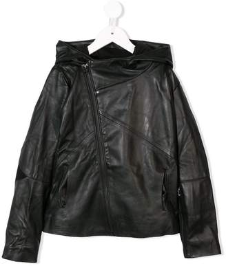 Nununu faux leather hooded jacket