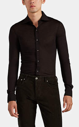 Isaia Men's Merino Wool Jersey Shirt - Brown