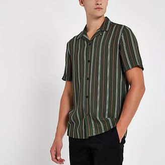 River Island Green stripe print short sleeve revere shirt
