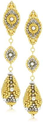 Miguel Ases Pyrite Quartz and Swarovski Ball Drop Earrings