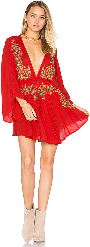 Free People Pretty Pineapple Dress in Red