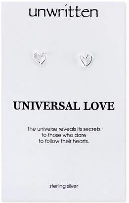 Unwritten Open Heart Stud Earrings in Sterling Silver