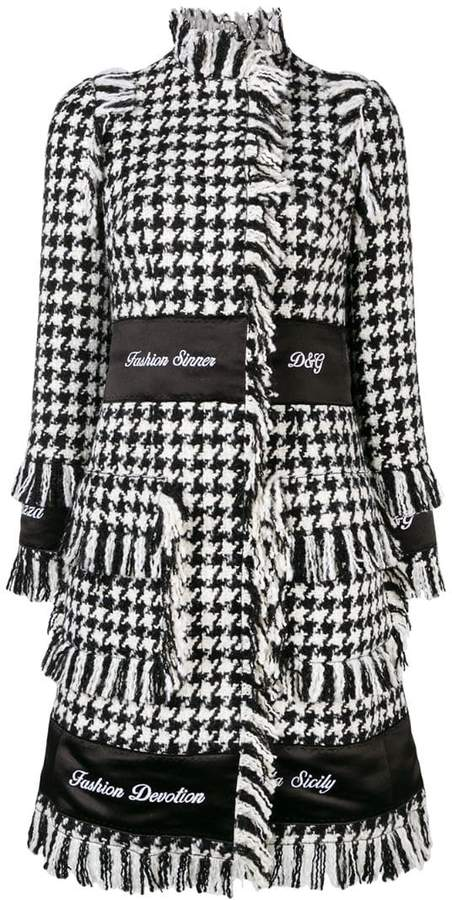 houndstooth embroidered coat