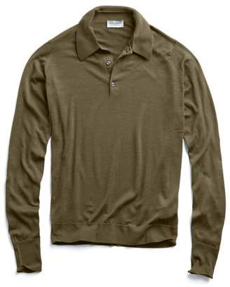 John Smedley Sweaters Easy Fit Long Sleeve Polo Sweater in Olive